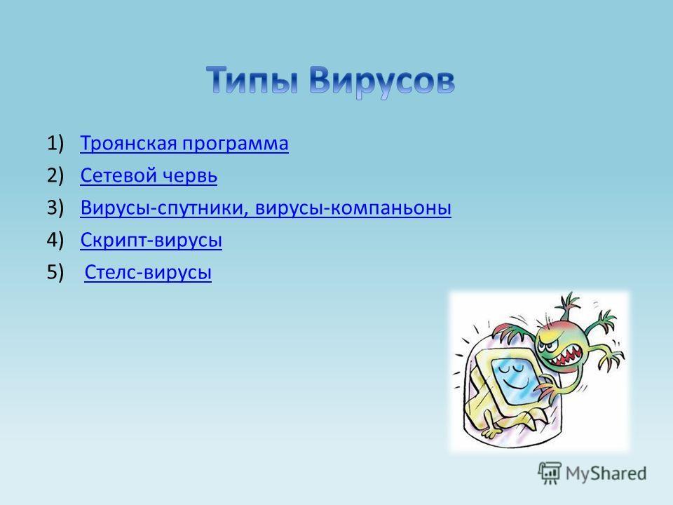 1)Троянская программаТроянская программа 2)Сетевой червьСетевой червь 3)Вирусы-спутники, вирусы-компаньоныВирусы-спутники, вирусы-компаньоны 4)Скрипт-вирусыСкрипт-вирусы 5) Стелс-вирусыСтелс-вирусы