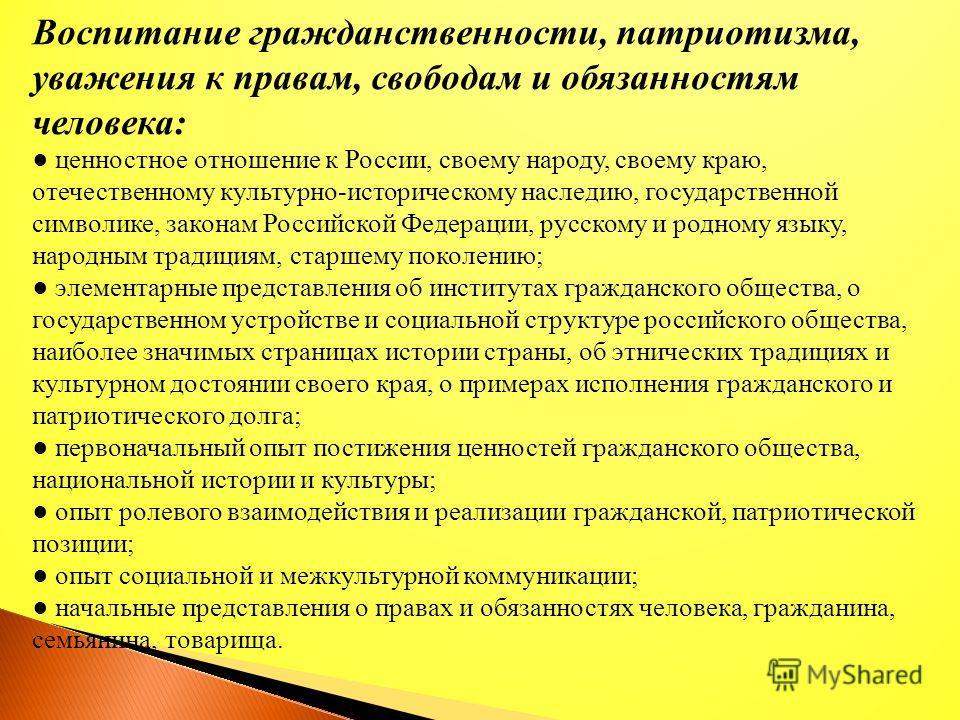 Воспитание гражданственности, патриотизма, уважения к правам, свободам и обязанностям человека: ценностное отношение к России, своему народу, своему краю, отечественному культурно-историческому наследию, государственной символике, законам Российской