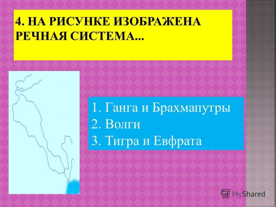 1. Ганга и Брахмапутры 2. Волги 3. Тигра и Евфрата