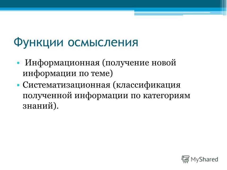 Функции осмысления Информационная (получение новой информации по теме) Систематизационная (классификация полученной информации по категориям знаний).