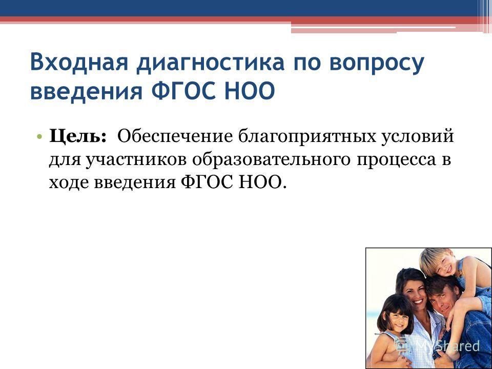 Входная диагностика по вопросу введения ФГОС НОО Цель: Обеспечение благоприятных условий для участников образовательного процесса в ходе введения ФГОС НОО.