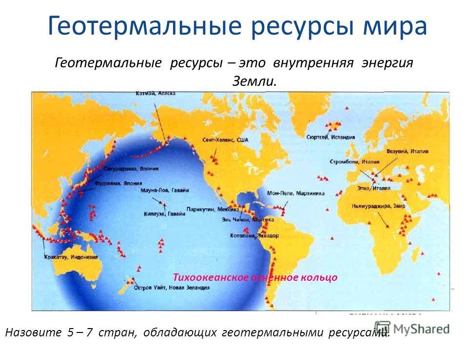 Геотермальные ресурсы мира Назовите 5 – 7 стран, обладающих геотермальными ресурсами. Геотермальные ресурсы – это внутренняя энергия Земли. Тихоокеанское огненное кольцо