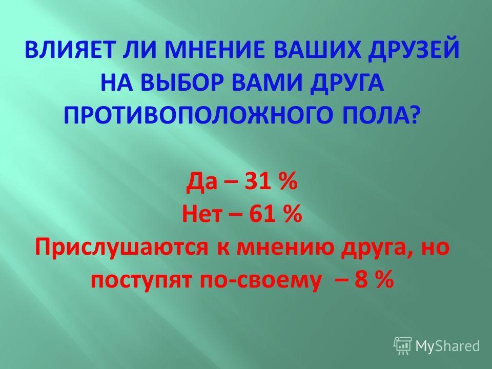 ВЛИЯЕТ ЛИ МНЕНИЕ ВАШИХ ДРУЗЕЙ НА ВЫБОР ВАМИ ДРУГА ПРОТИВОПОЛОЖНОГО ПОЛА? Да – 31 % Нет – 61 % Прислушаются к мнению друга, но поступят по-своему – 8 %