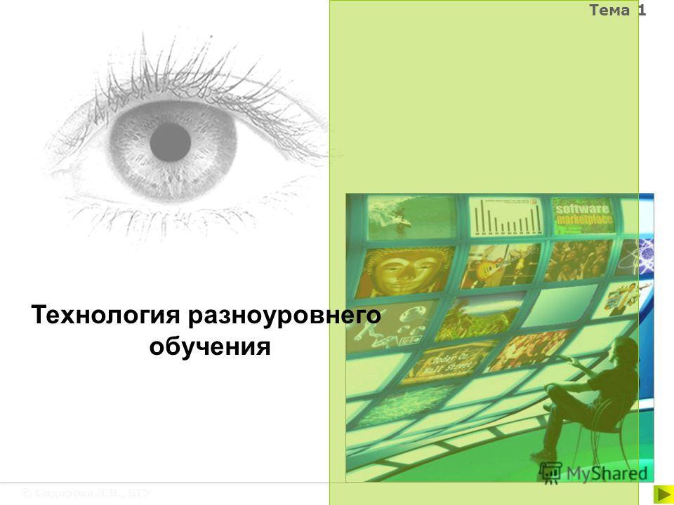 © Сидорова Л.В., БГУ Тема 1 Технология разноуровнего обучения