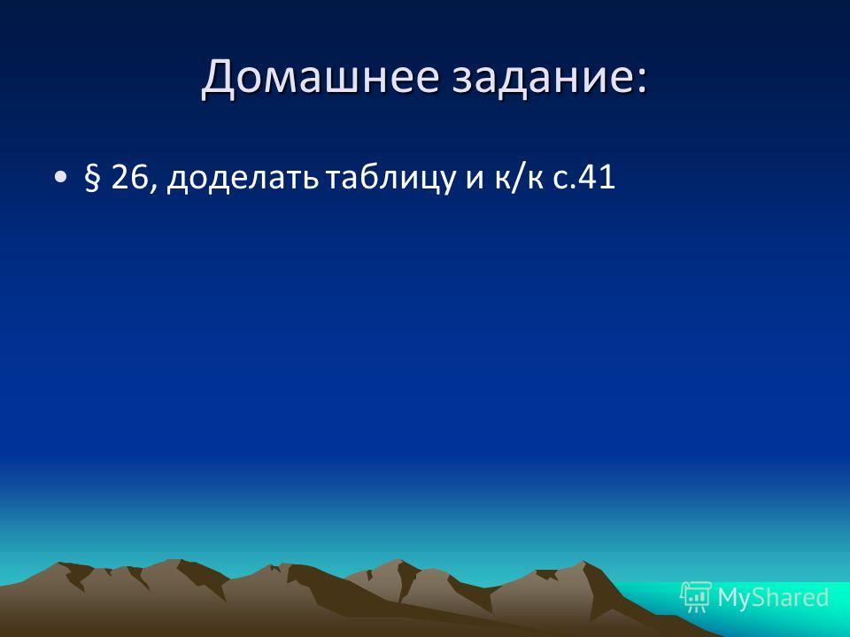 Домашнее задание: § 26, доделать таблицу и к/к с.41