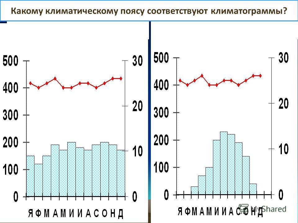 Какому климатическому поясу соответствуют климатограммы?