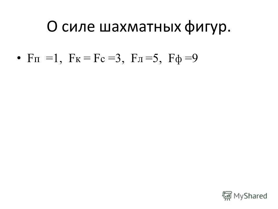 О силе шахматных фигур. F п =1, F к = F с =3, F л =5, F ф =9