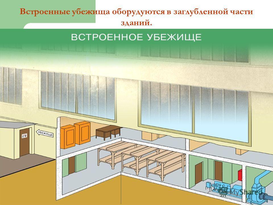 Встроенные убежища оборудуются в заглубленной части зданий.