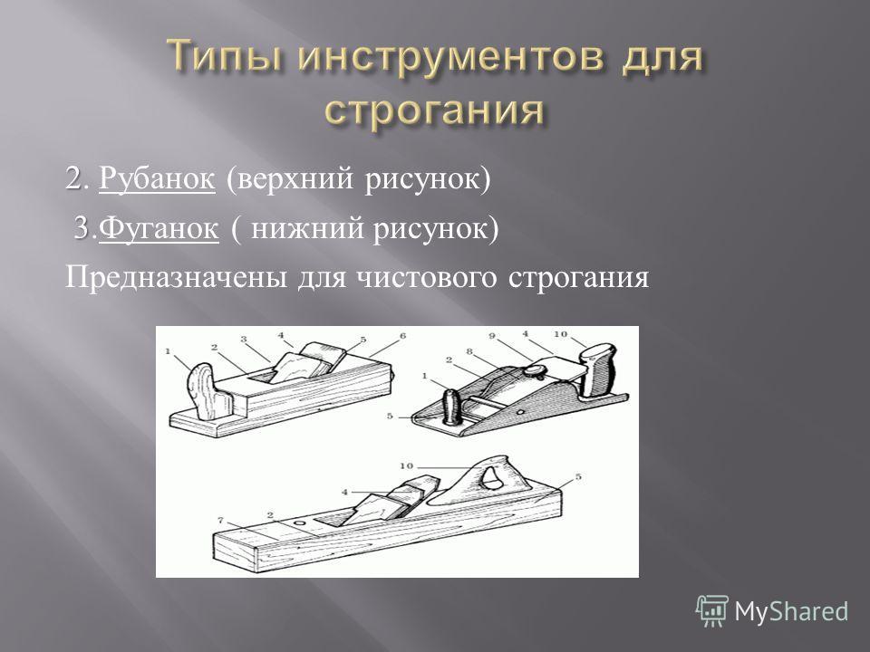 2 2. Рубанок ( верхний рисунок ) 3 3. Фуганок ( нижний рисунок ) Предназначены для чистового строгания