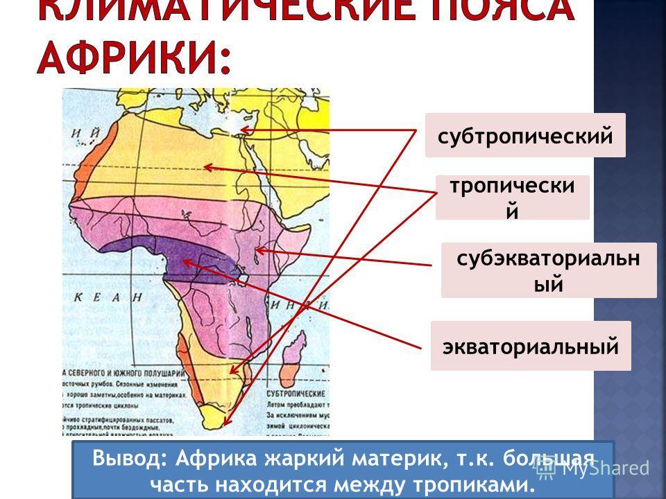 экваториальный субэкваториальн ый тропически й субтропический Вывод: Африка жаркий материк, т.к. большая часть находится между тропиками.