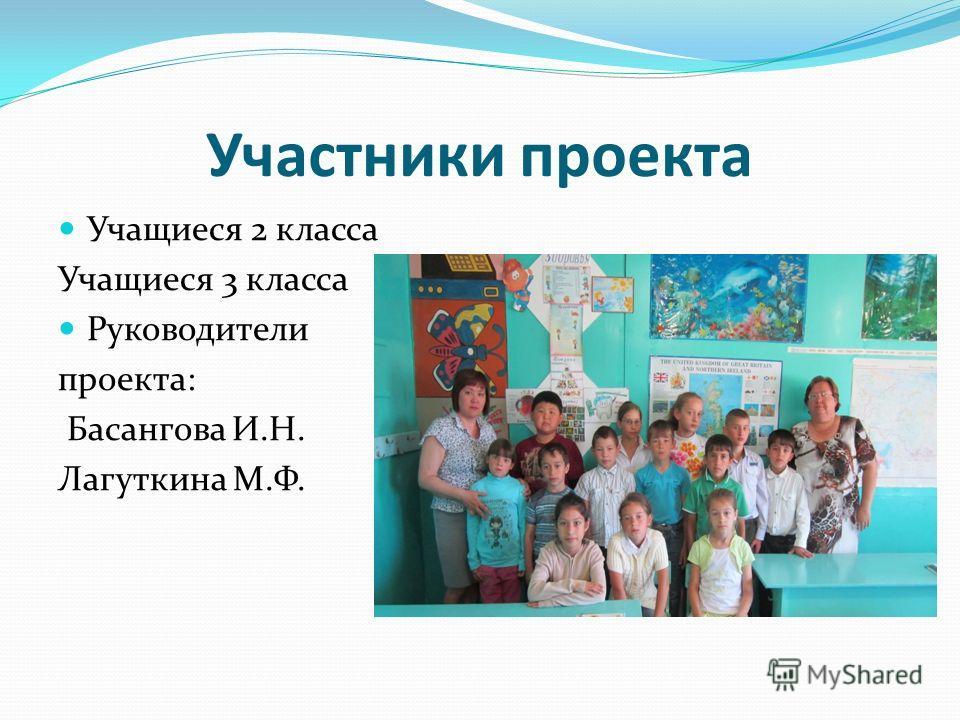 Участники проекта Учащиеся 2 класса Учащиеся 3 класса Руководители проекта: Басангова И.Н. Лагуткина М.Ф.