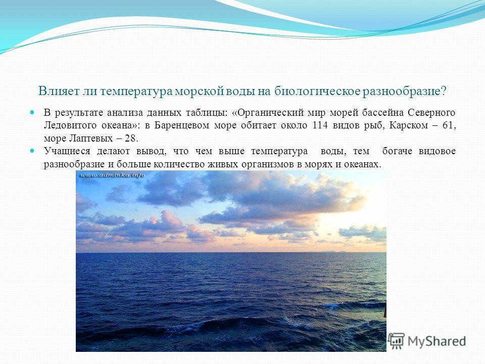 Влияет ли температура морской воды на биологическое разнообразие? В результате анализа данных таблицы: «Органический мир морей бассейна Северного Ледовитого океана»: в Баренцевом море обитает около 114 видов рыб, Карском – 61, море Лаптевых – 28. Уча