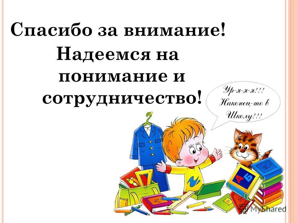 Спасибо за внимание! Надеемся на понимание и сотрудничество!