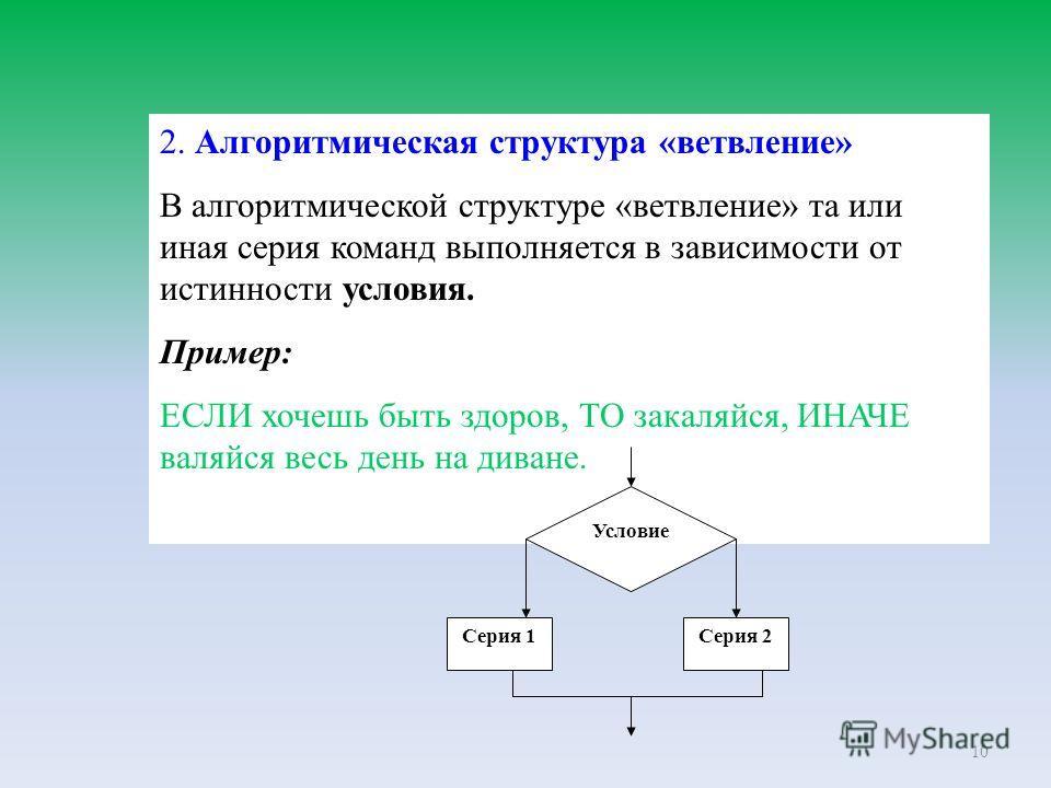 10 2. Алгоритмическая структура «ветвление» В алгоритмической структуре «ветвление» та или иная серия команд выполняется в зависимости от истинности условия. Пример: ЕСЛИ хочешь быть здоров, ТО закаляйся, ИНАЧЕ валяйся весь день на диване. Условие Се