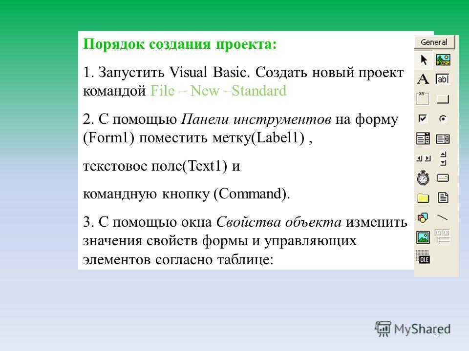 37 Порядок создания проекта: 1. Запустить Visual Basic. Создать новый проект командой File – New –Standard 2. С помощью Панели инструментов на форму (Form1) поместить метку(Label1), текстовое поле(Text1) и командную кнопку (Command). 3. С помощью окн