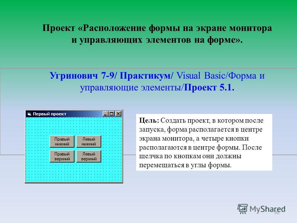 90 Проект «Расположение формы на экране монитора и управляющих элементов на форме». Угринович 7-9/ Практикум/ Visual Basic/Форма и управляющие элементы/Проект 5.1. Цель: Создать проект, в котором после запуска, форма располагается в центре экрана мон