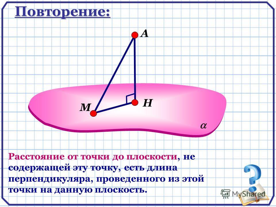 Повторение: А Расстояние от точки до плоскости, не содержащей эту точку, есть длина перпендикуляра, проведенного из этой точки на данную плоскость. Н М