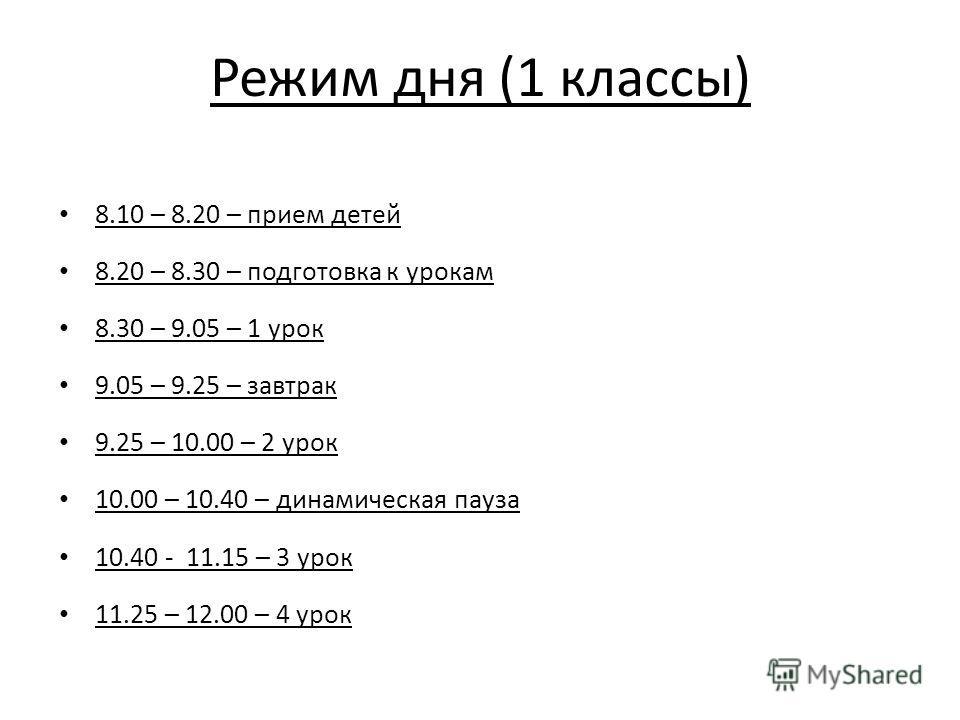 Режим дня (1 классы) 8.10 – 8.20 – прием детей 8.20 – 8.30 – подготовка к урокам 8.30 – 9.05 – 1 урок 9.05 – 9.25 – завтрак 9.25 – 10.00 – 2 урок 10.00 – 10.40 – динамическая пауза 10.40 - 11.15 – 3 урок 11.25 – 12.00 – 4 урок