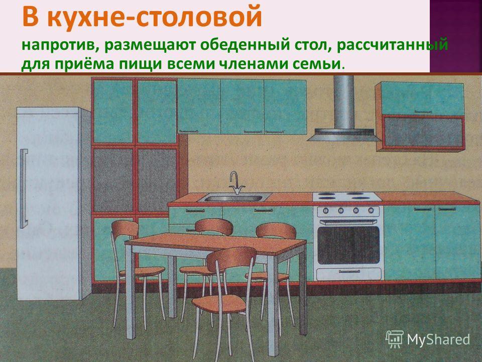 В кухне-столовой напротив, размещают обеденный стол, рассчитанный для приёма пищи всеми членами семьи.