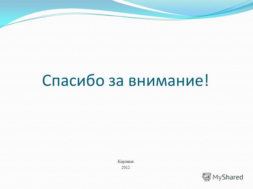 Спасибо за внимание! Корлики 2012