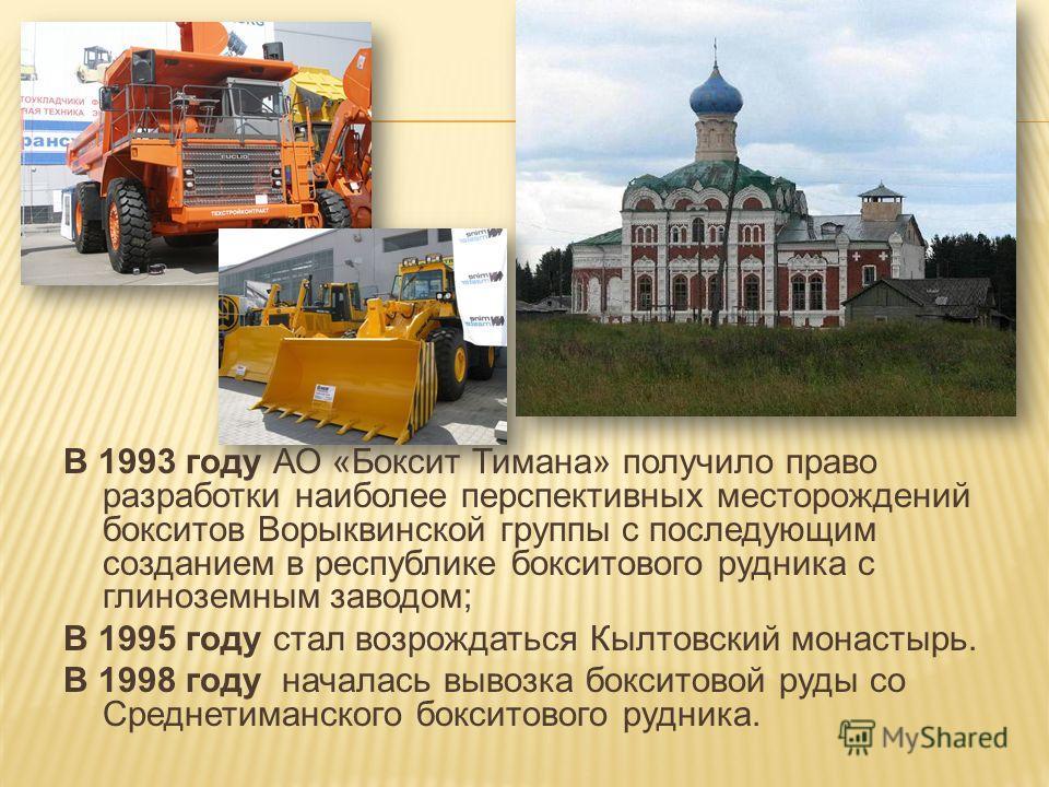 В 1993 году АО «Боксит Тимана» получило право разработки наиболее перспективных месторождений бокситов Ворыквинской группы с последующим созданием в республике бокситового рудника с глиноземным заводом; В 1995 году стал возрождаться Кылтовский монаст