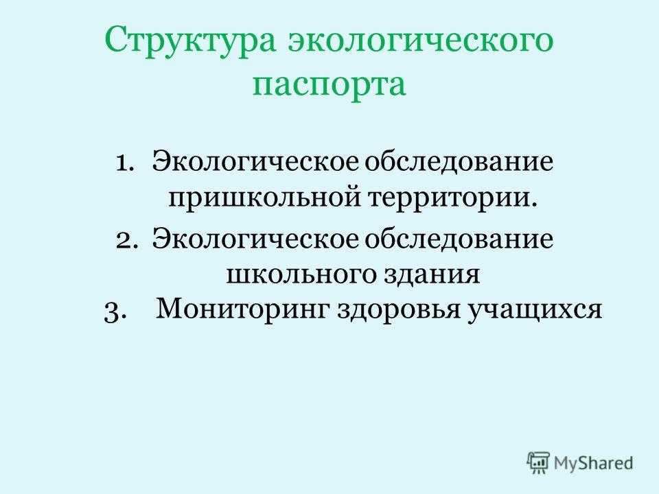 Структура экологического паспорта 1.Экологическое обследование пришкольной территории. 2.Экологическое обследование школьного здания 3. Мониторинг здоровья учащихся