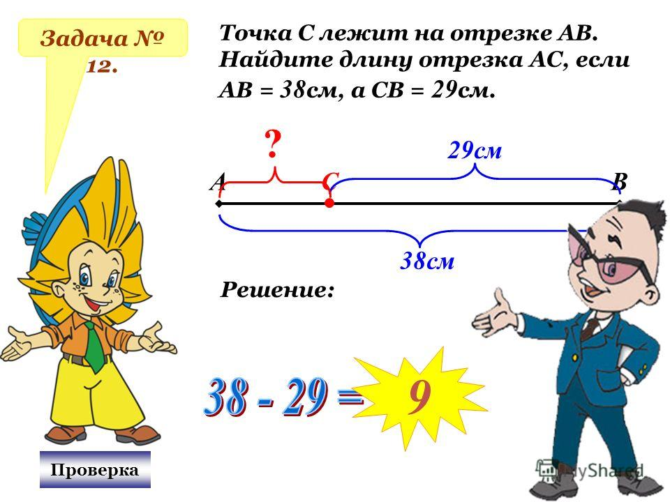 Задача 12. Точка С лежит на отрезке АВ. Найдите длину отрезка АС, если АВ = 38 см, а СВ = 29 см. АВС 38см 29см ? Проверка Решение: 9