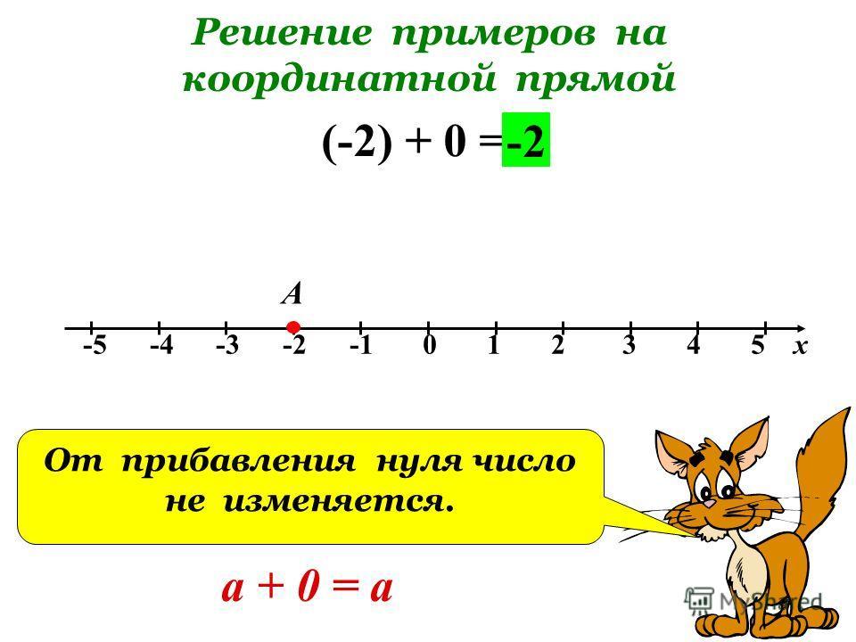 Решение примеров на координатной прямой -5 -4 -3 -2 -1 0 1 2 3 4 5 х (-2) + 0 = А -2 От прибавления нуля число не изменяется. а + 0 = а