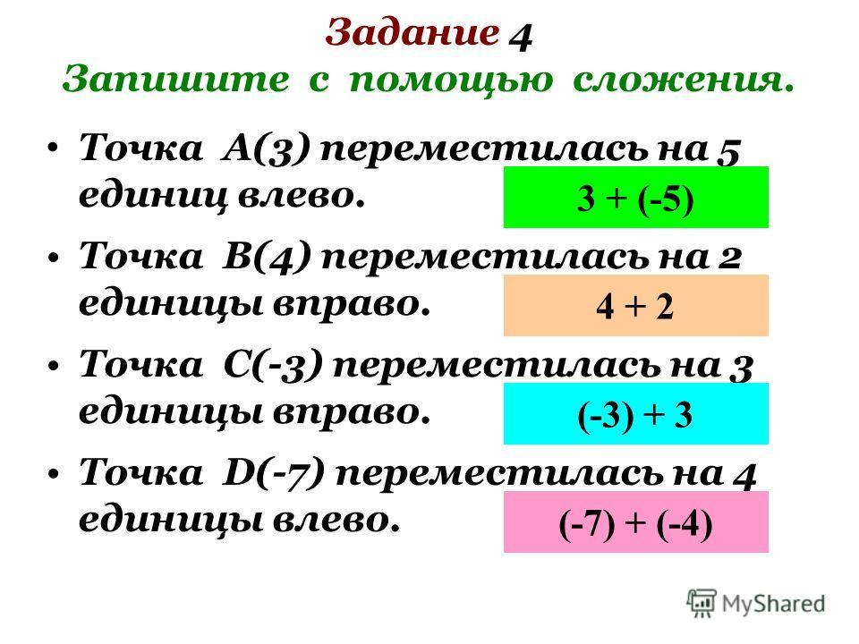Задание 4 Запишите с помощью сложения. Точка А(3) переместилась на 5 единиц влево. 3 + (-5) Точка В(4) переместилась на 2 единицы вправо. 4 + 2 Точка С(-3) переместилась на 3 единицы вправо. (-3) + 3 Точка D(-7) переместилась на 4 единицы влево. (-7)