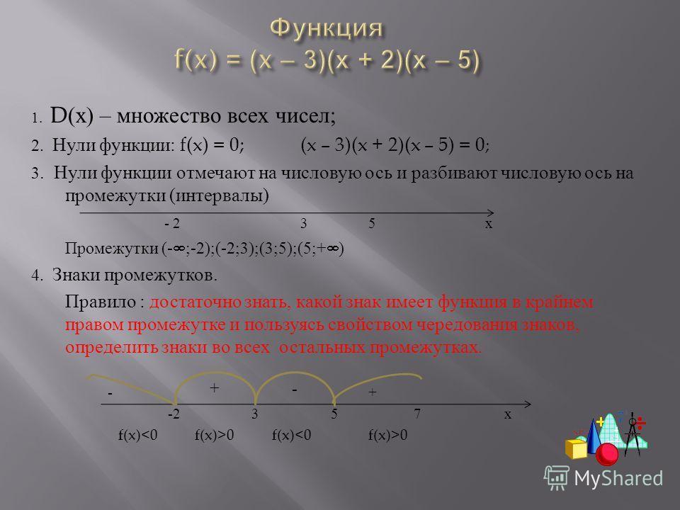 1. D( х ) – множество всех чисел ; 2. Нули функции : f(x) = 0; (x – 3)(x + 2)(x – 5) = 0 ; 3. Нули функции отмечают на числовую ось и разбивают числовую ось на промежутки ( интервалы ) - 235 х Промежутки (- ;-2);(-2;3);(3;5);(5;+ ) 4. Знаки промежутк