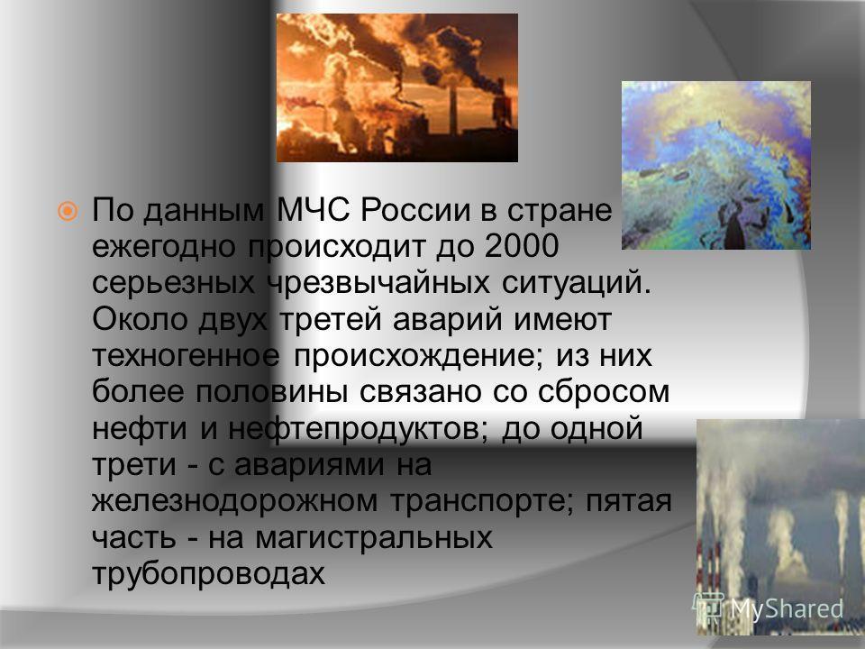 По данным МЧС России в стране ежегодно происходит до 2000 серьезных чрезвычайных ситуаций. Около двух третей аварий имеют техногенное происхождение; из них более половины связано со сбросом нефти и нефтепродуктов; до одной трети - с авариями на желез