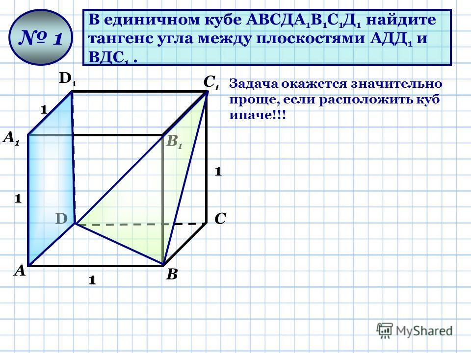 В единичном кубе АВСДА 1 В 1 С 1 Д 1 найдите тангенс угла между плоскостями АДД 1 и ВДС 1. D D1D1 А А1А1 В В1В1 С С1С1 1 1 1 1 1 Задача окажется значительно проще, если расположить куб иначе!!!