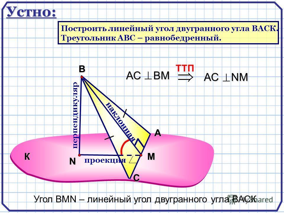А С В N перпендикуляр наклонная проекция TTП АС ВМ АС NМ Угол ВMN – линейный угол двугранного угла ВАСК К M Устно: Построить линейный угол двугранного угла ВАСК. Треугольник АВС – равнобедренный.