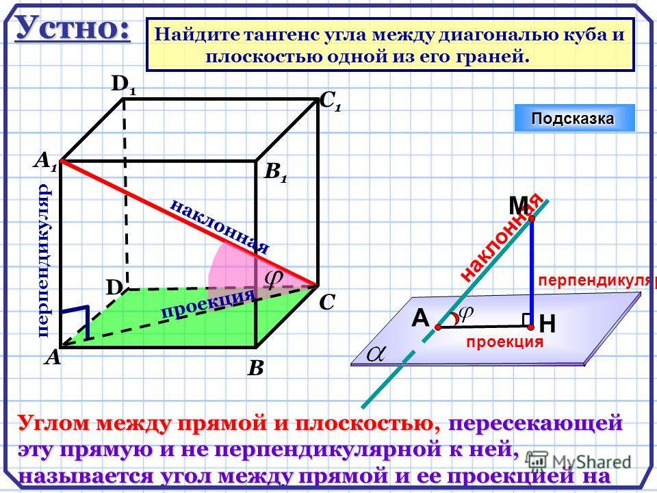 D А В С А1А1 D1D1 С1С1 В1В1 Подсказка Углом между прямой и плоскостью, пересекающей эту прямую и не перпендикулярной к ней, называется угол между прямой и ее проекцией на плоскость. перпендикуляр наклонная проекция Н А М перпендикуляр наклонная проек
