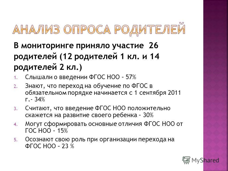 В мониторинге приняло участие 26 родителей (12 родителей 1 кл. и 14 родителей 2 кл.) 1. Слышали о введении ФГОС НОО – 57% 2. Знают, что переход на обучение по ФГОС в обязательном порядке начинается с 1 сентября 2011 г.- 34% 3. Считают, что введение Ф