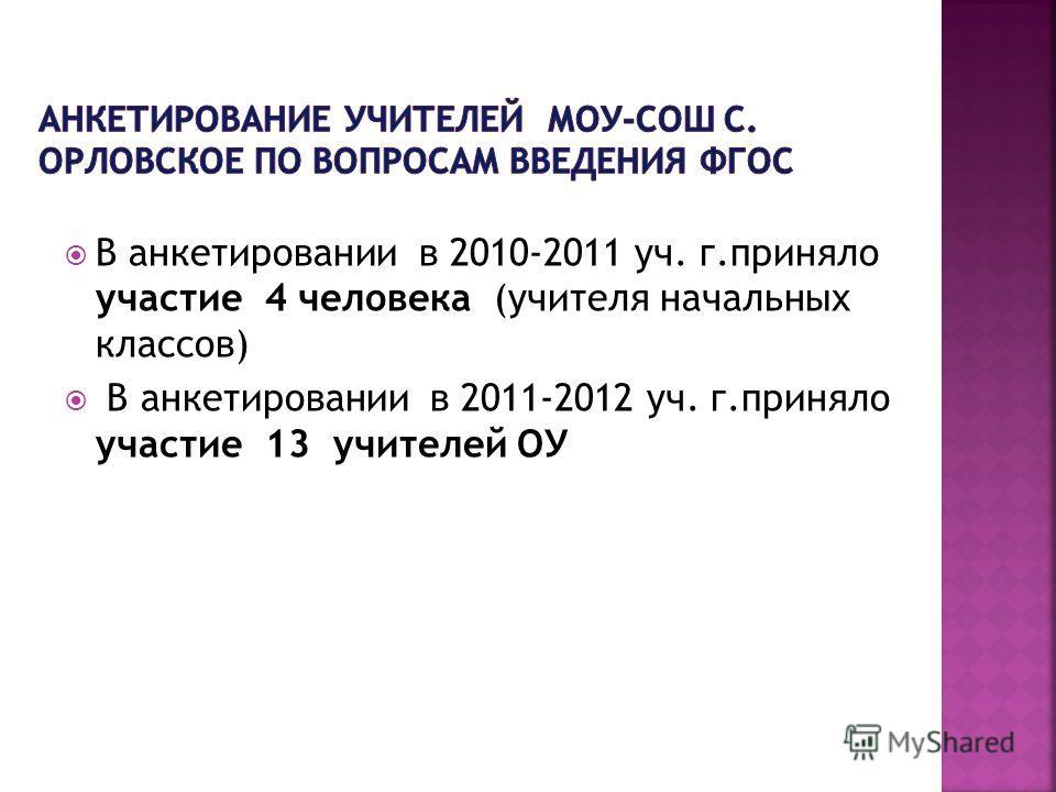 В анкетировании в 2010-2011 уч. г.приняло участие 4 человека (учителя начальных классов) В анкетировании в 2011-2012 уч. г.приняло участие 13 учителей ОУ