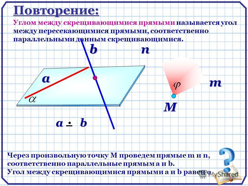 Повторение: Углом между скрещивающимися прямыми называется угол между пересекающимися прямыми, соответственно параллельными данным скрещивающимися. Через произвольную точку М проведем прямые m и n, соответственно параллельные прямым a и b. Угол между