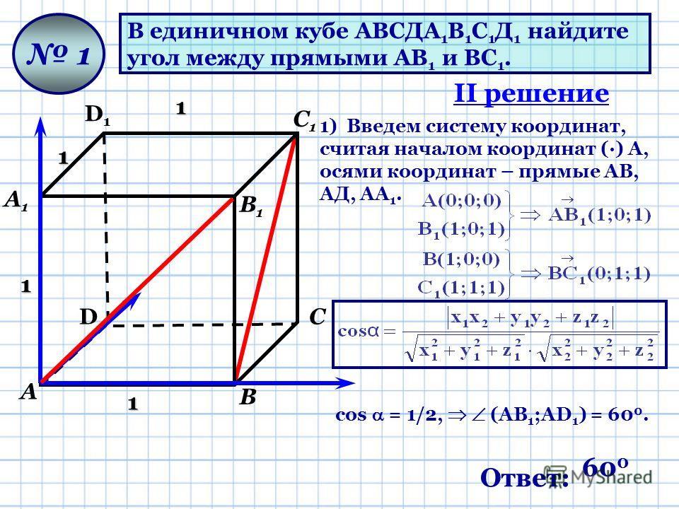В единичном кубе АВСДА 1 В 1 С 1 Д 1 найдите угол между прямыми АВ 1 и ВС 1. D D1D1 А А1А1 В В1В1 С С1С1 1 1 1 1 1 1) Введем систему координат, считая началом координат (·) А, осями координат – прямые АВ, АД, АА 1. cos = 1/2, (АВ 1 ;AD 1 ) = 60 0. II
