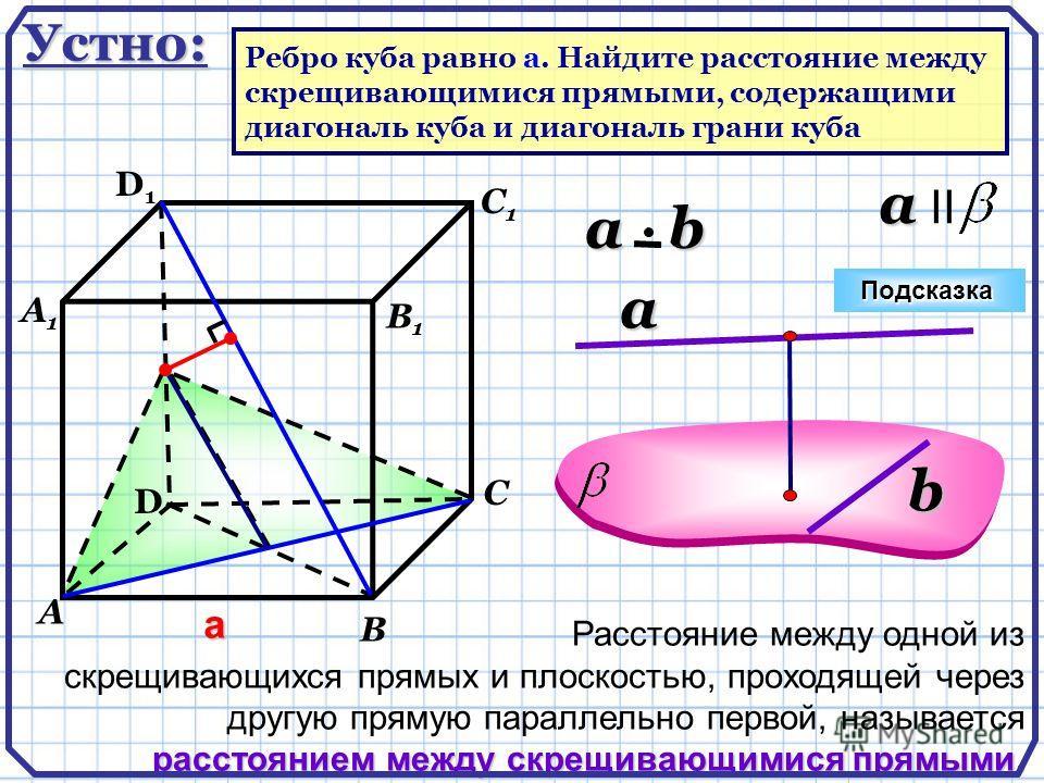 a a II расстоянием между скрещивающимися прямыми. Расстояние между одной из скрещивающихся прямых и плоскостью, проходящей через другую прямую параллельно первой, называется расстоянием между скрещивающимися прямыми. a b a b D А В С D1D1 С1С1 а В1В1