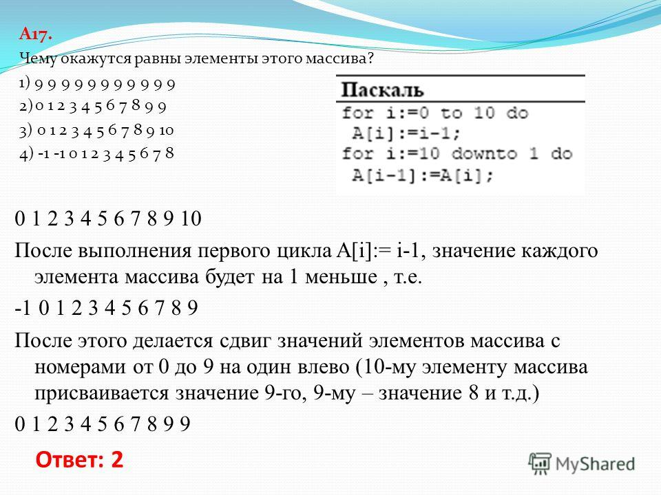 A17. В программе описан одномерный целочисленный массив A с индексами от 0 до 10. Ниже представлен фрагмент этой программы, записанный на разных языках программирования, в котором значения элементов массива сначала задаются, а затем меняются. Чему ок