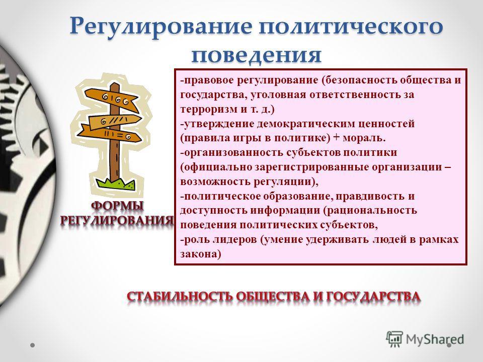 -правовое регулирование (безопасность общества и государства, уголовная ответственность за терроризм и т. д.) -утверждение демократическим ценностей (правила игры в политике) + мораль. -организованность субъектов политики (официально зарегистрированн