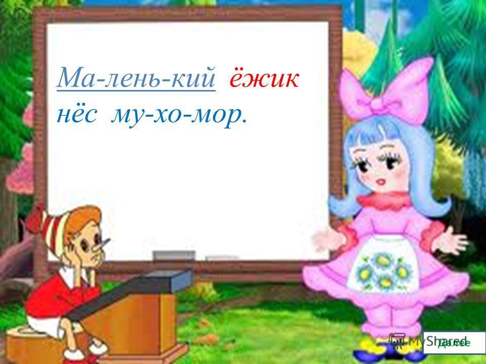 В каком слове допущена ошибка в делении слов для переноса? Проверка Ма-лень-кий ё-жик нёс му-хо-мор.