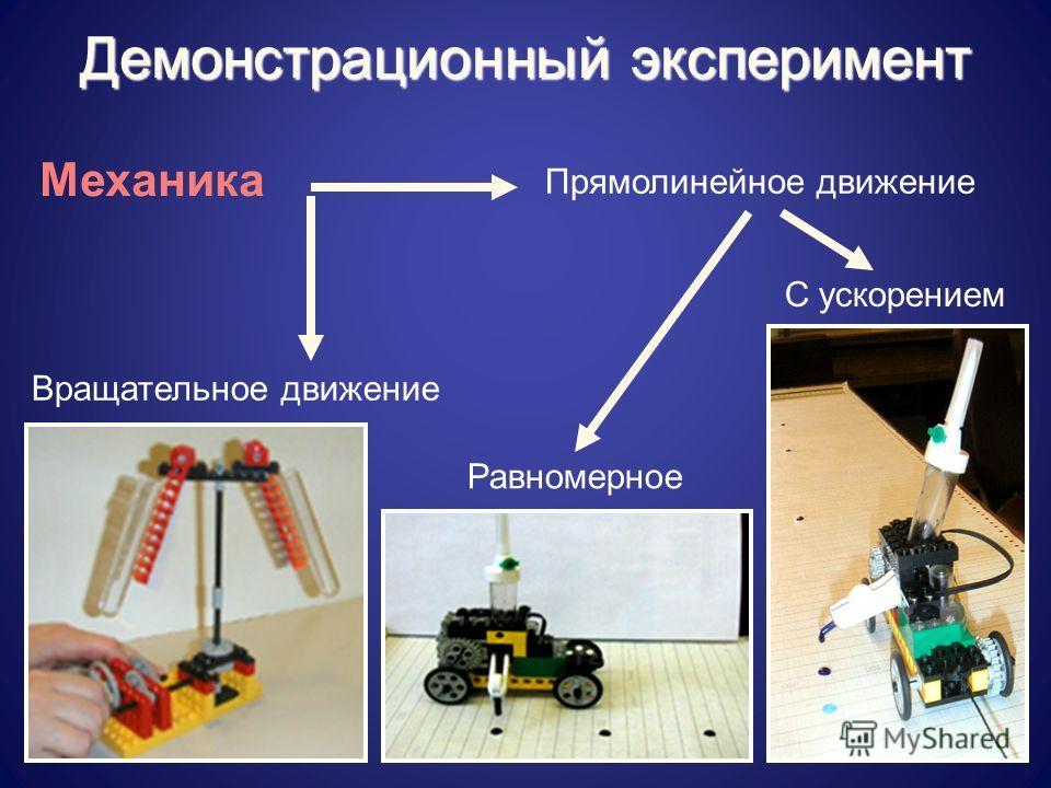 Демонстрационный эксперимент Механика Прямолинейное движение Равномерное С ускорением Вращательное движение