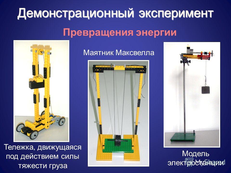 Превращения энергии Маятник Максвелла Тележка, движущаяся под действием силы тяжести груза Модель электростанции Демонстрационный эксперимент
