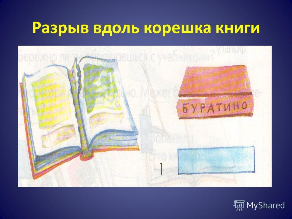 Разрыв вдоль корешка книги