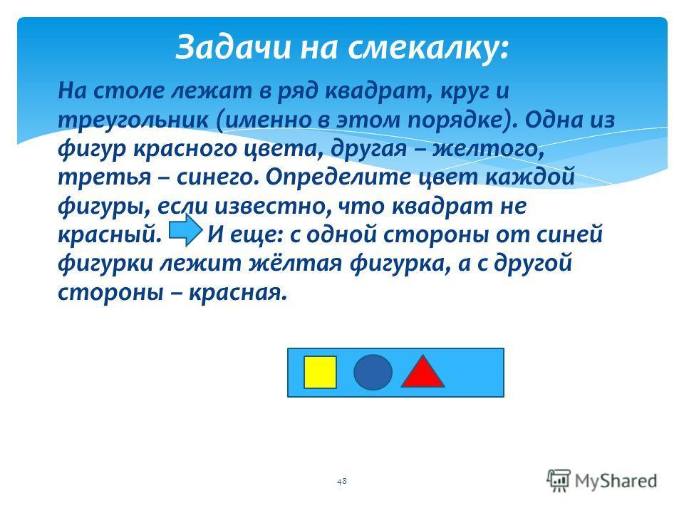Задачи на смекалку: 47 На столе лежат в ряд квадрат, круг и треугольник (именно в этом порядке). Одна из фигур красного цвета, другая – желтого, третья – синего. Определите цвет каждой фигуры, если известно, что квадрат не красный. И еще: с одной сто