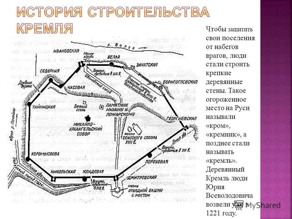 Чтобы защитить свои поселения от набегов врагов, люди стали строить крепкие деревянные стены. Такое огороженное место на Руси называли «кром», «кремник», а позднее стали называть «кремль». Деревянный Кремль люди Юрия Всеволодовича возвели уже в 1221
