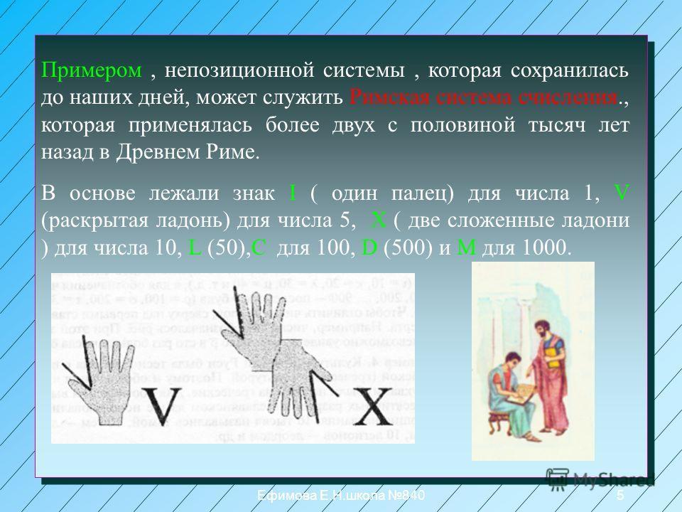 Ефимова Е.Н.школа 8404 Система счисления называется непозиционной, если количественный эквивалент значения каждого символа не зависит от его положения( места, позиции) в коде числа. Алфавит кодовой системы счисления Египта Число в египетской системе