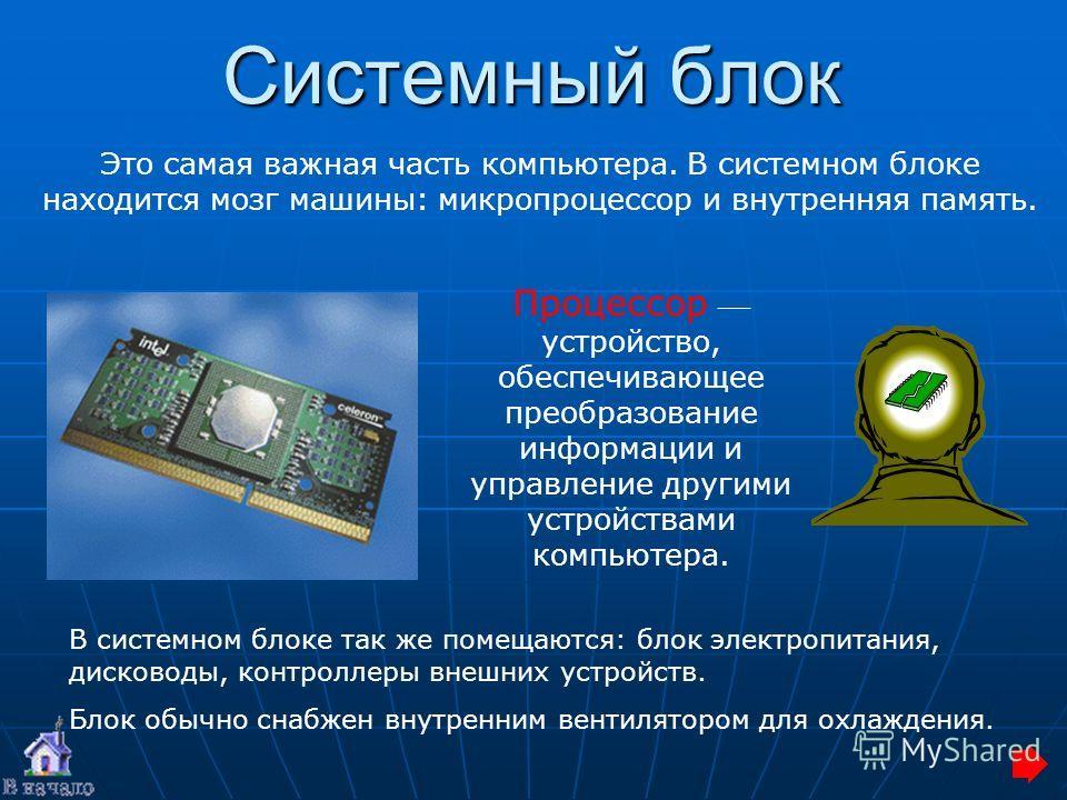 Системный блок Это самая важная часть компьютера. В системном блоке находится мозг машины: микропроцессор и внутренняя память. В системном блоке так же помещаются: блок электропитания, дисководы, контроллеры внешних устройств. Блок обычно снабжен вну