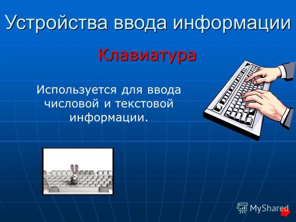 Клавиатура Устройства ввода информации Используется для ввода числовой и текстовой информации.